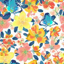 Abstract Naadloos Patroon Met Geïsoleerde Hand Getrokken Bloemen Mooie Blauwe En Oranje Bloemenachtergrond Voor Druk Behang En Textielontwerp