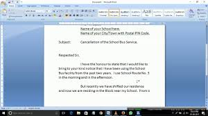 An Application To The Principal For Cancellation Of School Bus