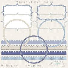 Winter Glitter Digital Frames Borders Clip Art Fancy Frames