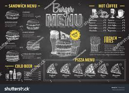 Menu Drawing Design Vintage Chalk Drawing Burger Menu Design Fast Food Menu