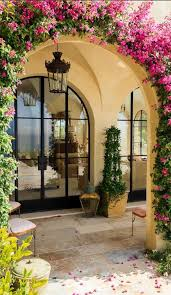 lawn garden spanish garden decor idea with climbing plants and