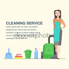 cleaning service banner cartoon w character stock cleaning service banner for advertisement cartoon w character and house cleaning tools vector by julija grozyan