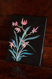 anese style flower painting acrylic on canvas by artstuffbyjess