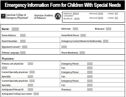 Emergency Information Form For Children With Special Needs