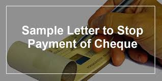 sle letter to stop payment of cheque