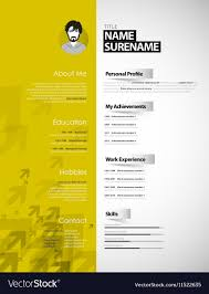 Creative Curriculum Vitae Template With Yellow