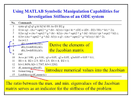 using matlab symbolic manipulation capabilities for investigation stiffness of an ode system
