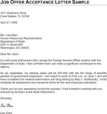 Offer Acceptance Email Sample Free Job Offer Acceptance Letter Sample Pdf 19kb 1 Page S