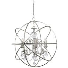 home rugs decor lighting chandeliers crystorama solaris 6 light swarovski strass crystal silver sphere chandelier