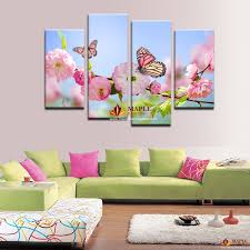 hot sell hd decorative pictures modern beautiful flower and butterfly paintings living room decor wall art 4 piece wall canvas on beautiful wall art for living room with hot sell hd decorative pictures modern beautiful flower and