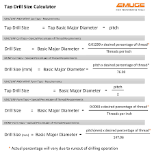 Tap Drill Size Selection Emuge Corporation