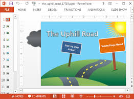 Animated Uphill Road Powerpoint Template