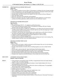 Training Specialist Resume Training Support Specialist Resume Samples Velvet Jobs