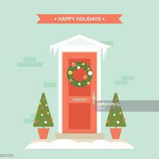 christmas front door clipart. Interesting Front Christmas Front Door Decorations House Exterior Entrance  Clipart Vectoriel And Front Door N