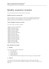 Qa Resume Objective Quality Assurance Specialist Resume Pastry Sous