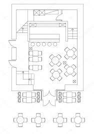 floor plan furniture symbols. Standard Cafe Furniture Symbols On Floor Plans \u2014 Stock Vector Plan