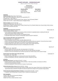 Undergraduate Student Cv Example Resume Sample For University Admission College Resume