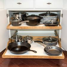pots and pans on diy slide out shelves