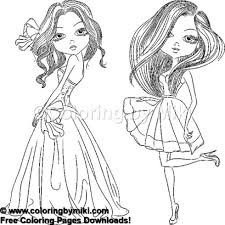 Fashion Girls In Dresses Coloring Page 967 Coloring By Miki