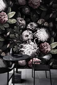 Donkere Bloemen Behang Bloemen Behang Donkere Bloemen Peony Etsy