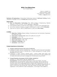 Fresher Testing Resume Template Websites Web Design