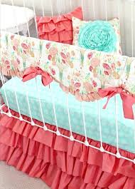 c nursery bedding peach mint c baby bedding ruffle crib rail by teal c baby bedding c nursery bedding