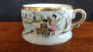 vintage ceramic porcelain tea cup painted japanese 1
