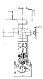 stevi® 470 ansi control valve electric actuator auma sar product image stevi 470 auma sar dimension drawing