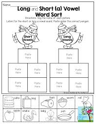Students can read a short sentence or paragraph and connect the words or read a. Long And Short Vowel Worksheets Tremendous Sort Fun Engaging First Grade Phonics Word Sorts Jaimie Bleck