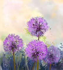 oil painting purple onion flower abstract flower painting in soft colorful spring fl seasonal