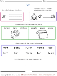 Phonics worksheets and online activities. Phonics Worksheet Ur Worksheet For 1st 2nd Grade Lesson Planet