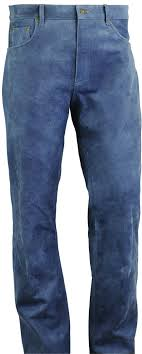leather jeans leather trousers long in blue