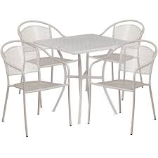 28 square light gray indoor outdoor steel patio table set with 4 round