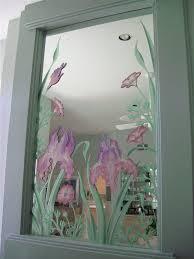 bathroom door glass painting designs