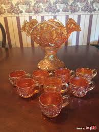 vintage amb orang carnival glass 2 pc punch bowl set 8 cups exquisite marigold