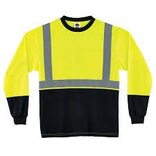 Hi Vis T Shirt Design Glowear 8291bk Type R Class 2 Black Front Long Sleeve T Shirt