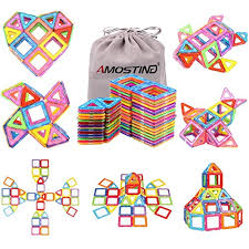 AMOSTING Magentic Building Tiles Blocks Educational Construction Toys for Boys and Girls Colorful Durable Best Gifts 3 Year Olds: Amazon.ca