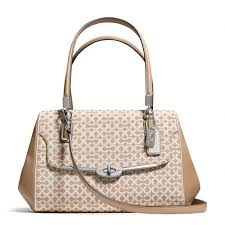 The Madison Small Madeline East west Satchel In Op Art Needlepoint Fabric  from Coach