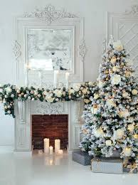 Elegant White Christmas Tree Decorations and Fireplace Backdrop - 4663 -  Backdrop Outlet
