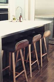 black leather bar stool with back walnut wood article sede