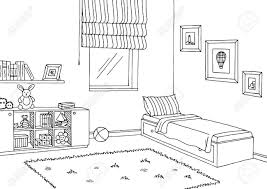 bedroom clipart black and white. Simple Bedroom Children Room Graphic Black White Interior Sketch Illustration Within Kids Bedroom  Clipart And 994