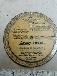 Nc Tap Chart Details About Vintage 1935 Lufkin Wheel Screw Thread Tap Drill Sizes Calculator Chart