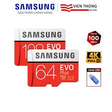 Thẻ nhớ microSD Samsung Evo Plus 32GB / 64GB / 128GB tốc độ upto 100MB/s  kèm Adapter (Bảo hành 10 năm) + Đầu đọc thẻ - Thẻ nhớ máy ảnh