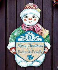 love this product merry snowman personalized wood door hanger