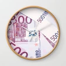 500 euros bills wall clock by gaspar