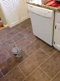Kitchen Floors Vinyl New Flooring In Kitchen Trafficmaster Ceramica In Sagebrush This