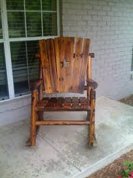 wooden outdoor chairs image of rustic log rocking patio furniture uk full size