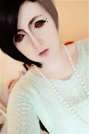 uta inspired makeup look using phantasee tokyo ghoul cosplay lenses