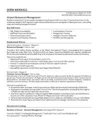 Sample Restaurant Resume Musiccityspiritsandcocktail Com