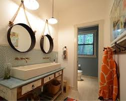 Transitional bathroom photo in Austin with a trough sink